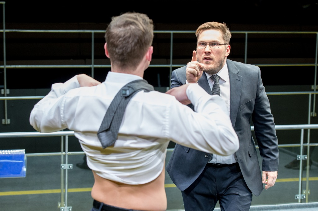 4. Max Bennett (Tony) and Marc Wootton (Thomas) in Bull at the Young Vic © Manuel Harlan.